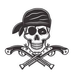 Pirate skull in bandana and two crossed pistols vector