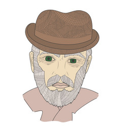 portrait of grandfather with a mustache zen vector image