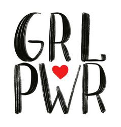 Pwr grl power girl black phrase with red vector