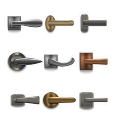 realistic 3d detailed shiny door handles set vector image