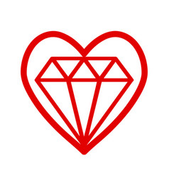 Red heart symbol with bright cristal diamond vector