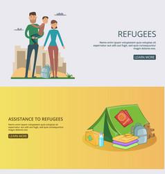 Refugee banner set concept vector
