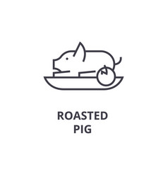 roasted pig line icon outline sign linear symbol vector image