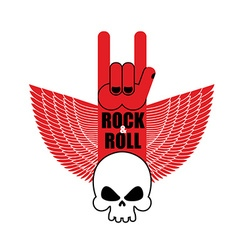 Rock and roll hand sign and wings with skull vector