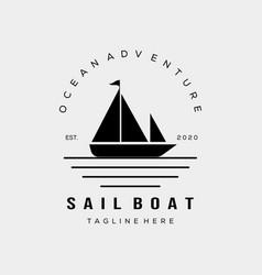 Sailboat sunset silhouette icon logo design vector