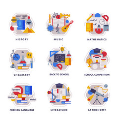 school subjects icons set education and science vector image