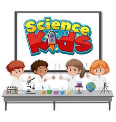 Science kids logo and kids wearing scientist vector