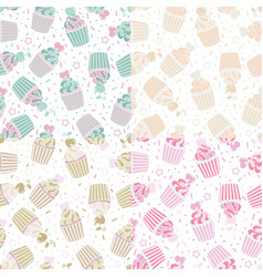 Seamless pattern of cute cupcakes vector