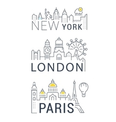Set Line Banners Paris London and New York vector