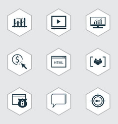 Set of 9 advertising icons includes market vector