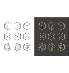 set of 9 icons trendy golden logo linear design vector image