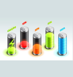 set of battery charge isometric icon accumulator vector image