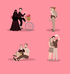 Set of characters couuple showing love enjoy time vector