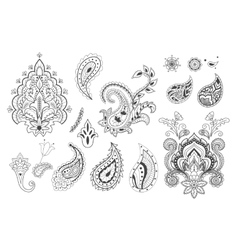 Set of decorative paisley templates vector
