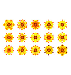 Set of vintage yellow flowers vector