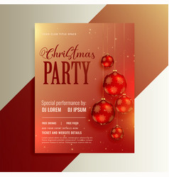shiny party flyer with red christmas balls vector image