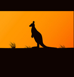 silhouette kangaroo on background sunset vector image