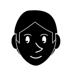 silhouette young face guy brown hair smile vector image