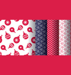 simple classic xmas pattern set vector image