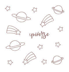 space objects hand drawn sketch universe on white vector image