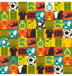 Sports seamless pattern with soccer football icons vector image