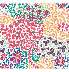Spring or summer flowers blooming seamless pattern vector
