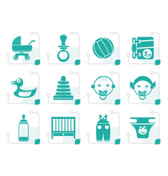 Stylized child baby and baby online shop icons vector