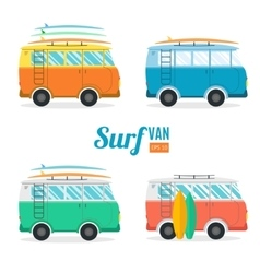 Surf Van Set Flat Design vector image