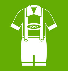 t-shirt and pants with suspenders icon green vector image