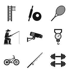 tackle icons set simple style vector image