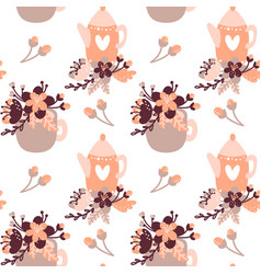 Tea time seamless pattern tea party background vector