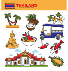 Thailand tourism travel landmarks and thai culture vector