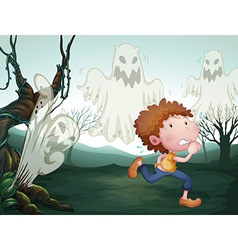 The boy and the three ghosts vector