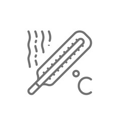 Thermometer high temperature fever line icon vector