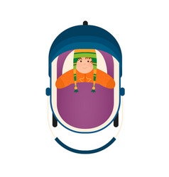 top view bain stroller lying child in warm vector image