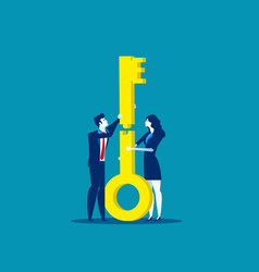 two business teamwork jigsaw keys together vector image