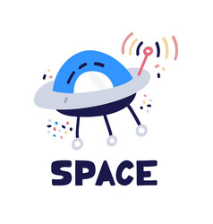 ufo spaceship icon flat style alien space ship vector image