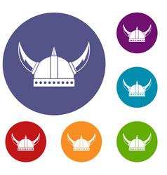 viking helmet icons set vector image