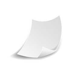 white paper sheet with curved flipped corner vector image