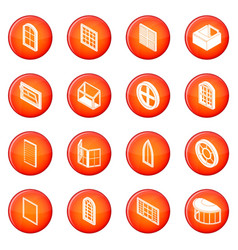 Window forms icons set red vector