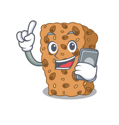 With phone granola bar character cartoon vector
