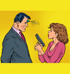 woman pointed gun suction cup joke at the vector image