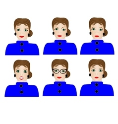 Woman with different facial expressions vector image