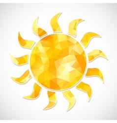yellow sun label triangles vector image