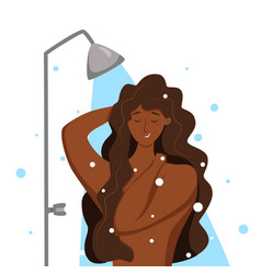 Young african american woman taking shower cartoon vector