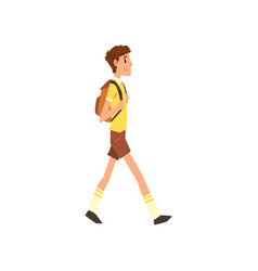 young man walking with backpack active healthy vector image