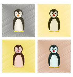 Assembly flat shading style icons penguin vector