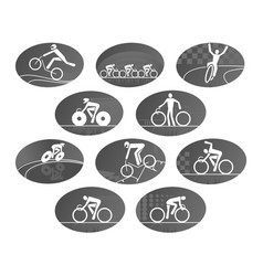 bicycle cycling race sport icons set vector image vector image