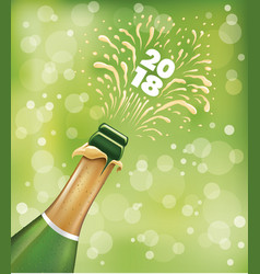 champagne bottle popping happy new year vector image