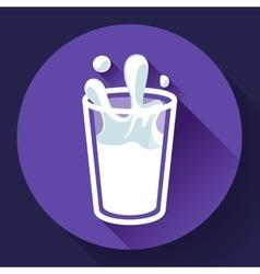 glass of milk splash icon flat style vector image vector image
